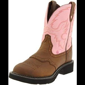 Justin Gypsy Cowgirl brown/pink leather boot 7 1/2
